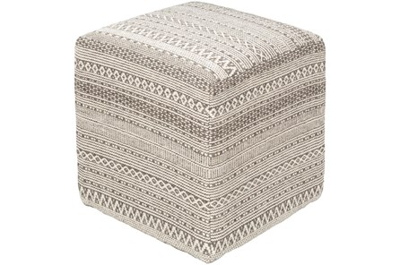 Pouf-Taupe Ivory Textured - Main