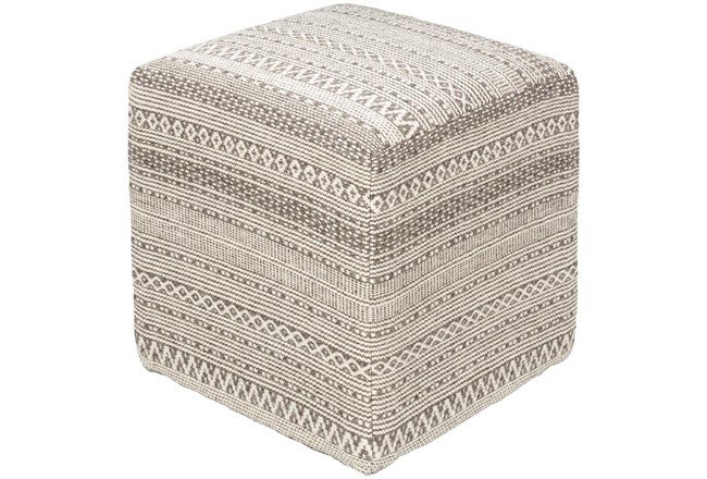 Pouf-Taupe Ivory Textured - 360
