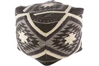 Pouf-Dark Brown Aztec Shag