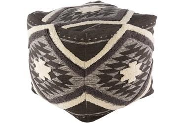 Pouf-Dark Brown Aztec Shag