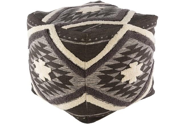 Pouf-Dark Brown Aztec Shag - 360