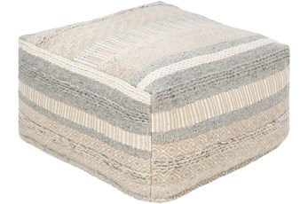 Pouf-Grey Beige Stripe