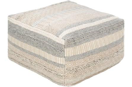 Pouf-Grey Beige Stripe - Main
