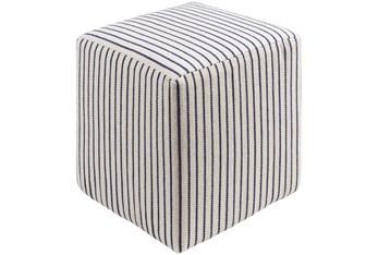 Pouf-Navy Cream Stripe