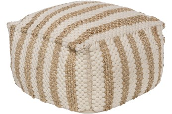 Pouf-Khaki Jute And Chenille Stripes
