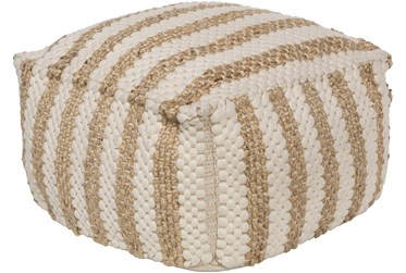 Pouf-Khaki Jute And Chenille Stripes