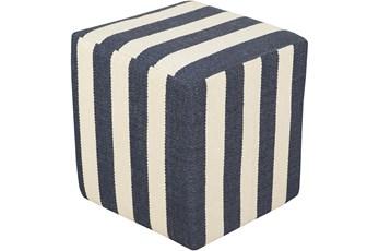 Pouf-Blue Cream Stripes