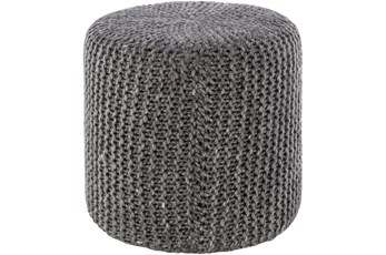 Pouf-Charcoal Knitted