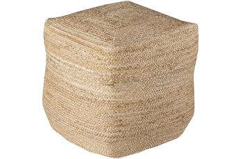 Pouf-Tan Braided Jute