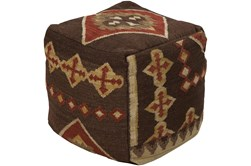 Pouf-Brown Patterned