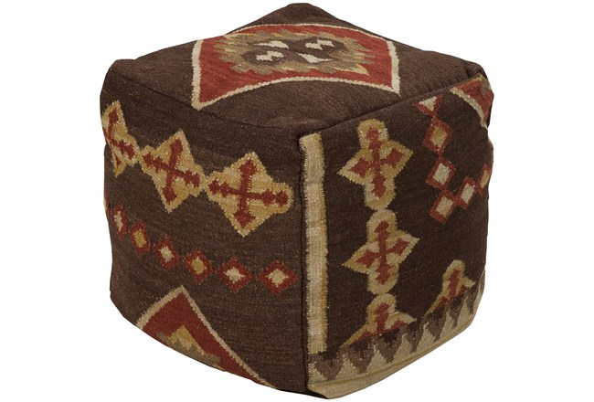 Pouf-Brown Patterned - 360