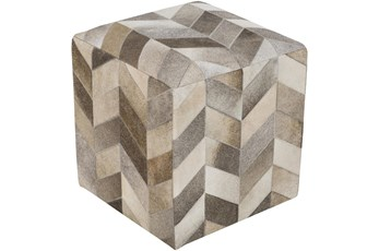 Pouf-Camel Cream Chevron Hair On Hide