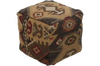 Pouf-Rust Natural Aztec