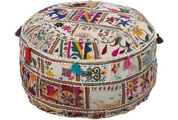 Pouf-Multicolored Patched Embroidered Beaded
