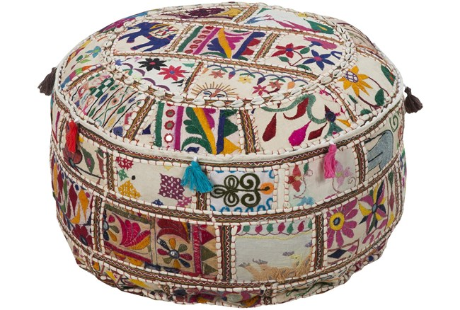 Pouf-Multicolored Patched Embroidered Beaded - 360