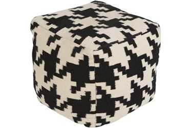 Pouf-Black Cream Houndstooth Small