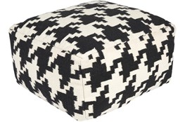 Pouf-Black Cream Houndstooth