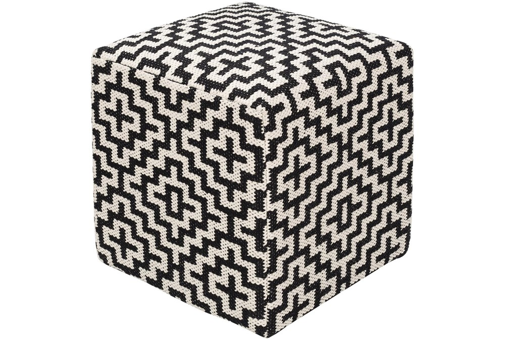 Pouf-Black White Geometric