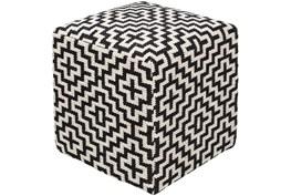Pouf-Black White Geometric