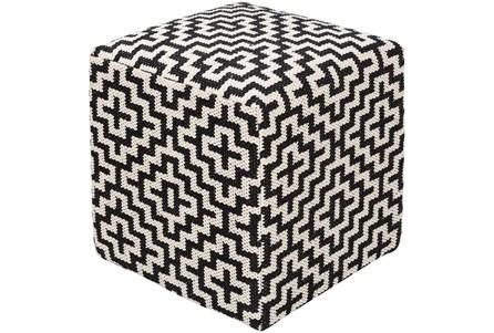 Pouf-Black White Geometric - Main