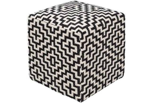 Pouf-Black White Geometric - 360