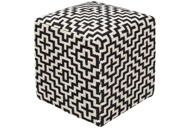 Pouf-Black White Geometric - 360