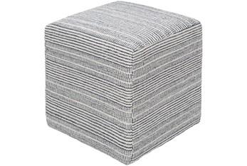 Pouf-Blue Ivory Stripes