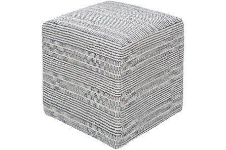 Pouf-Blue Ivory Stripes - Main