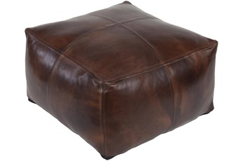 Pouf-Brown Leather Patched
