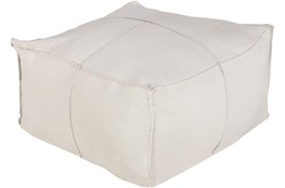 Pouf-Ivory Linen Pleated