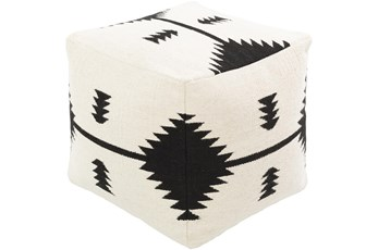 Pouf-Cream Black Aztec