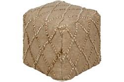 Pouf-Wheat Jute Diamond Pattern