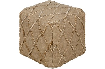 Pouf-Wheat Jute Diamond Pattern