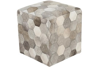 Pouf-Natural Patched Hair On Hide Cube