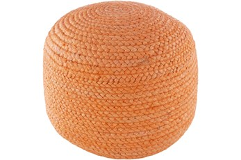 Pouf-Orange Braided Jute
