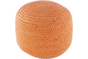 Pouf-Orange Braided Jute