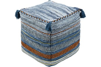 Pouf-Blue Orange Braided Tassels