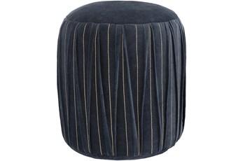 Pouf-Blue Velvet Textured Detail