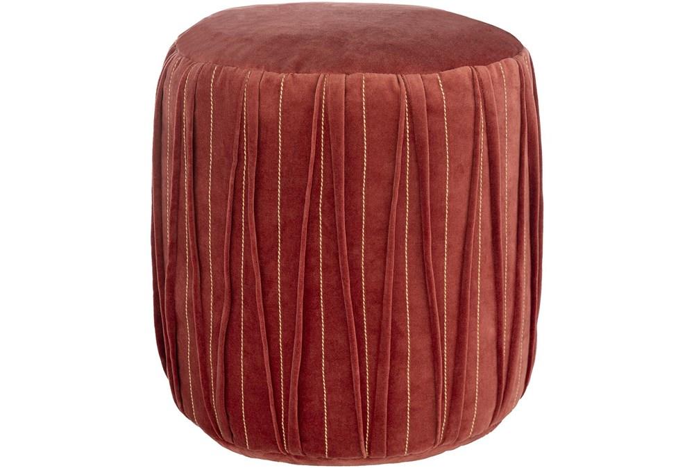 Pouf-Red Velvet Textured Detail
