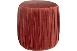 Pouf-Red Velvet Textured Detail