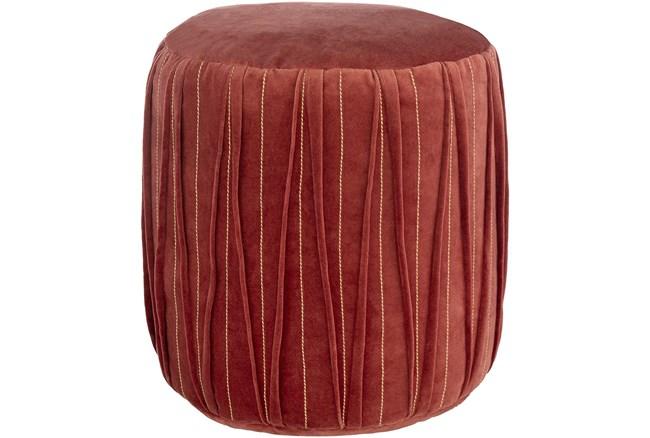 Pouf-Red Velvet Textured Detail - 360