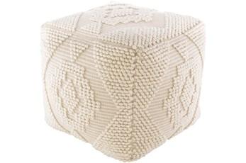 Pouf-Beige Textured