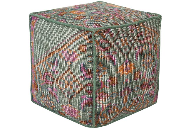 Pouf-Multicolored Hand Knotted - 360