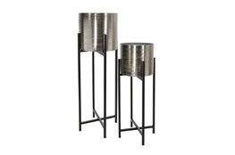 Silver Planter On Black Stand Set Of 2