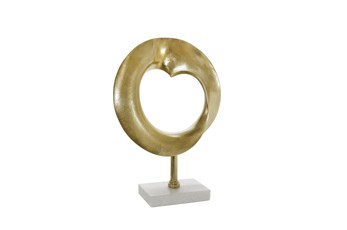 18 Inch Gold Metal Disc On Marble Base
