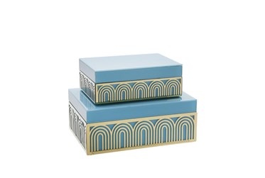 Blue And Gold Arch Design Box Set Of 2
