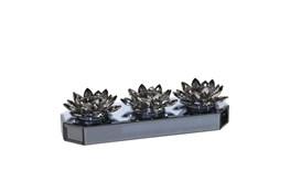 Black Mirrored Lotus Candle Holder