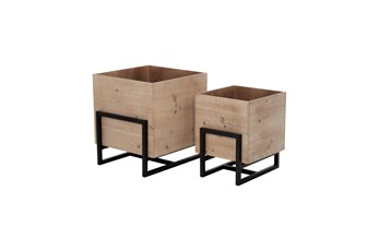 Wood Metal Square Planters Set Of 2