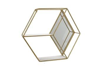 Gold Mirrored Hexagon Wall Shelf
