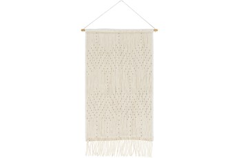 Wall Tapestry-Hand Embroidered Ivory Khaki 24X36